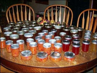 Jars of homemade jelly