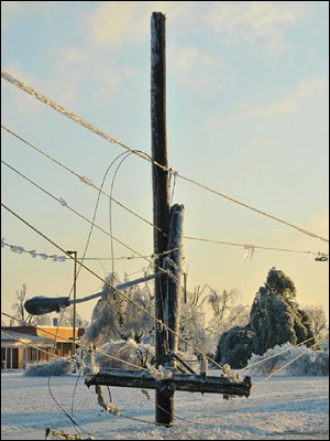 Downed iced line