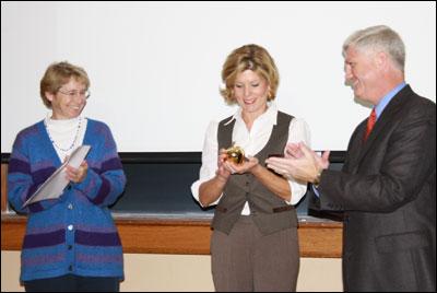 Associate Dean Bryan Garton and Assistant Dean Shari Freyermuth congratulated Sowers.