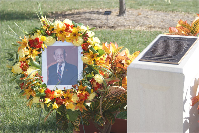 A memorial wreath was placed near the Purdy Tree Collection in front of the Bond Life Sciences Building.