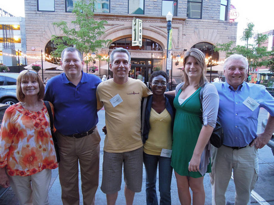 From left to right are Mary Grigsby, Kenny Sherin, Steve Jeanetta, Faustine Williams, Mariah Thomas, and David O'Brien after dinner at Fork, a Boise restaurant featuring local foods and beverages.