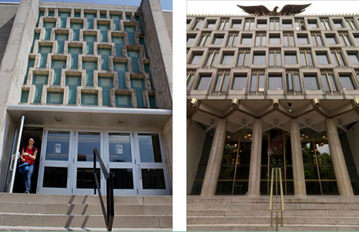 The entrance to the Ag Building, left, and the old U.S. embassy in London, right.