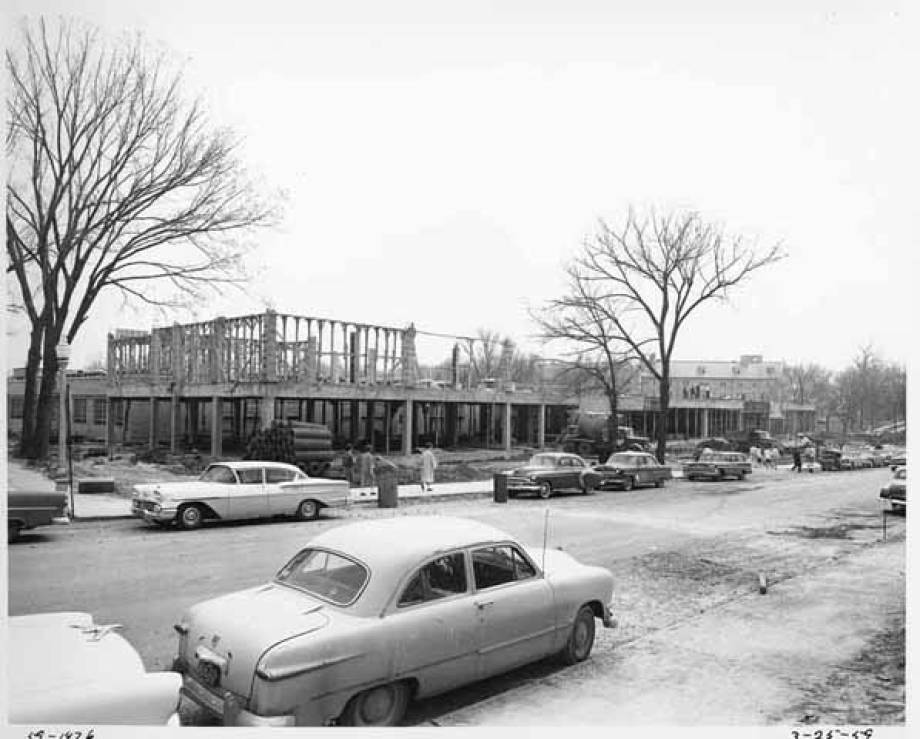 By March 25, 1959, pouring of concrete for the third floor had begun