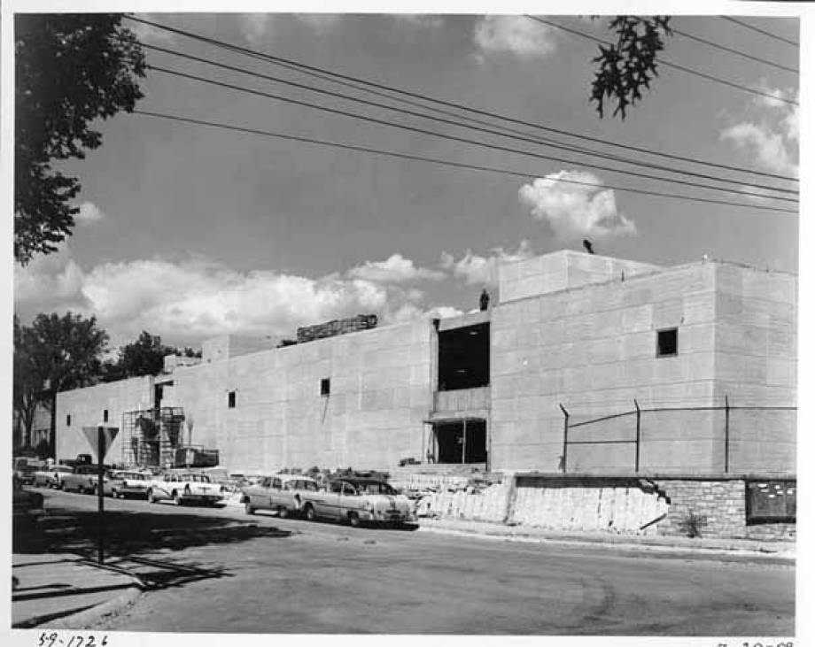 Indiana limestone covers the gray concrete