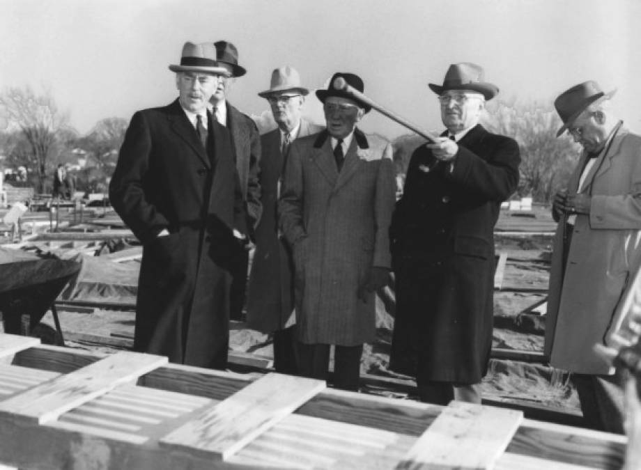 Former President Harry S Truman and Alonzo Gentry (at right) at Truman Library site