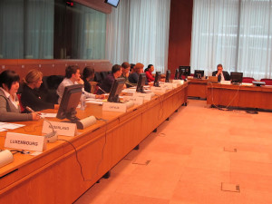 MU students and faculty are briefed in a Council of the EU meeting room, Brussels, as part of the CAFNR winter study program on EU policies and institutions.