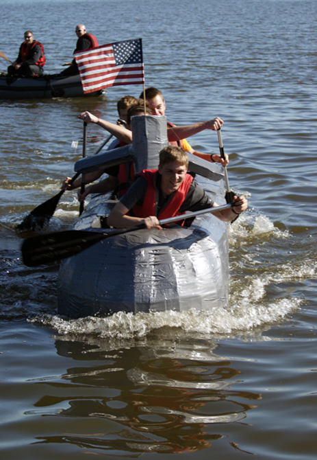 The Event Which Attracted 20 Boats Built By Mid Missouri Businesses Student Groups And Radio Stations Was A Joint Fundraiser College Of