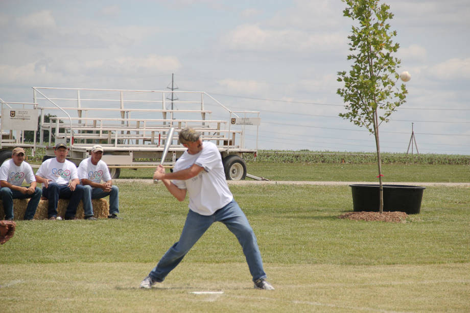Dusty Walter, Superintendent of Wurdack Farm, up to bat for his softball team at the CAFNR Staff Olympics.