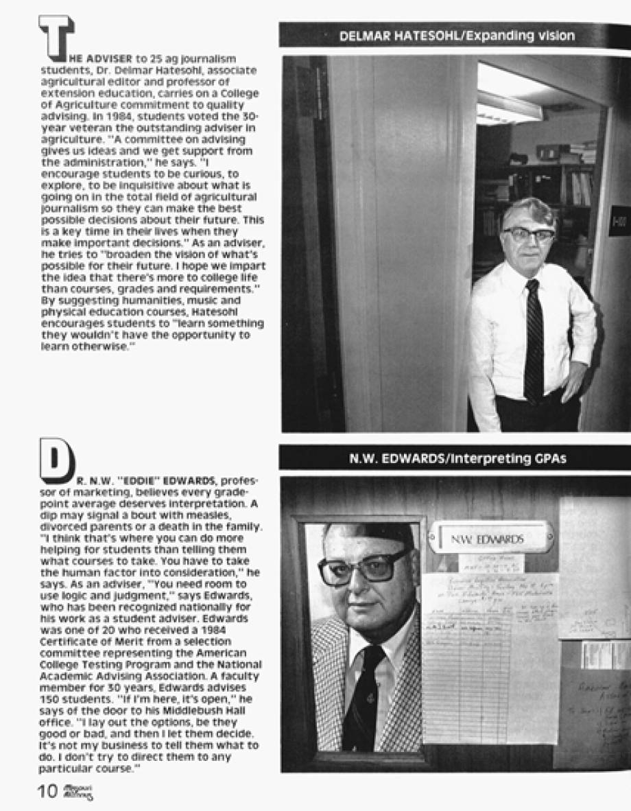 1985 Feature on top advisors in Alumni Magazine