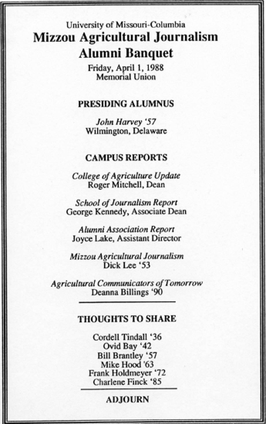 1988 Banquet program