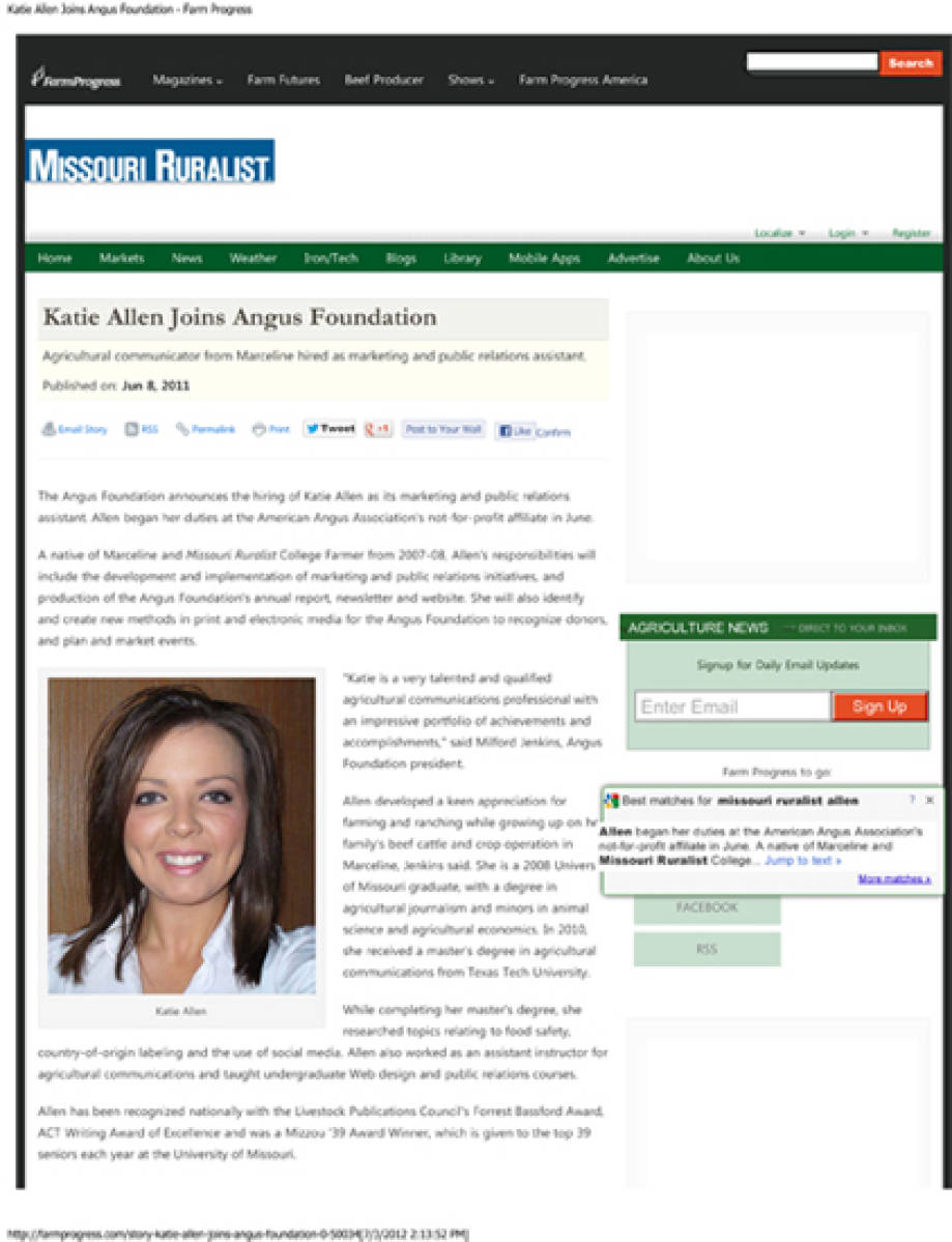 Katie Allen joins Angus Foundation, Farm Progress