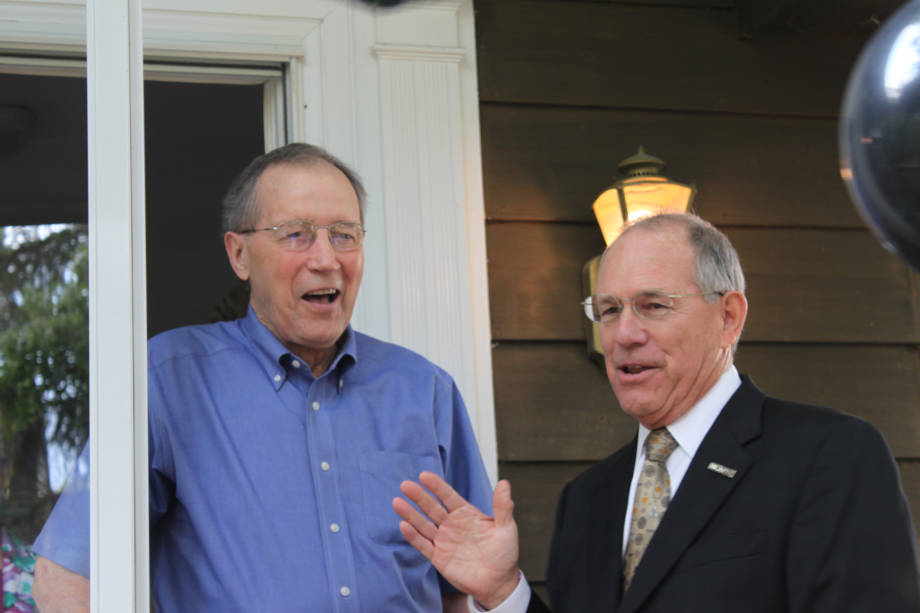 CAFNR Dean Tom Payne surprises CAFNR Dean Emeritus Roger Mitchell for Mitchell's 80th birthday, Sept. 13. Payne and other CAFNR faculty and staff surprised Mitchell at his home.