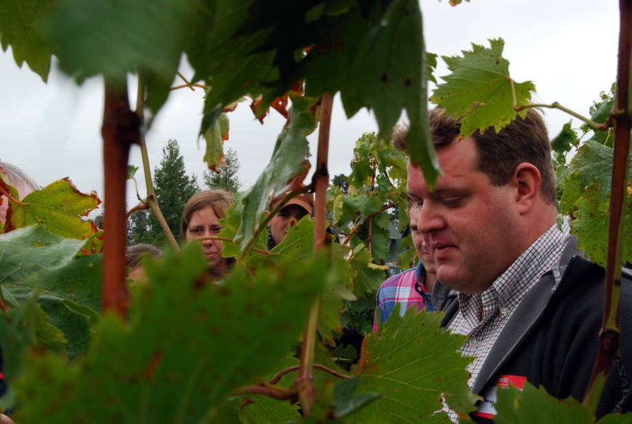 Anthony Peccoux, assistant professor in the Division of Plant Sciences, explains the basics of growing grapes in Missouri at the Southwest Research Center's Field Day, Friday, Sept. 14.
