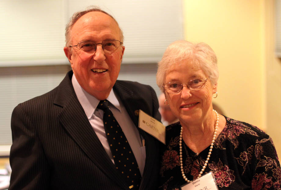 Fred and Donna Martz at Martz's retirement celebration at Eckles Hall Oct. 19. The couple helped start an endowed scholarship fund to support students in animal science, agronomy, soils and sustainable agriculture programs. Martz is professor emeritus of animal sciences.
