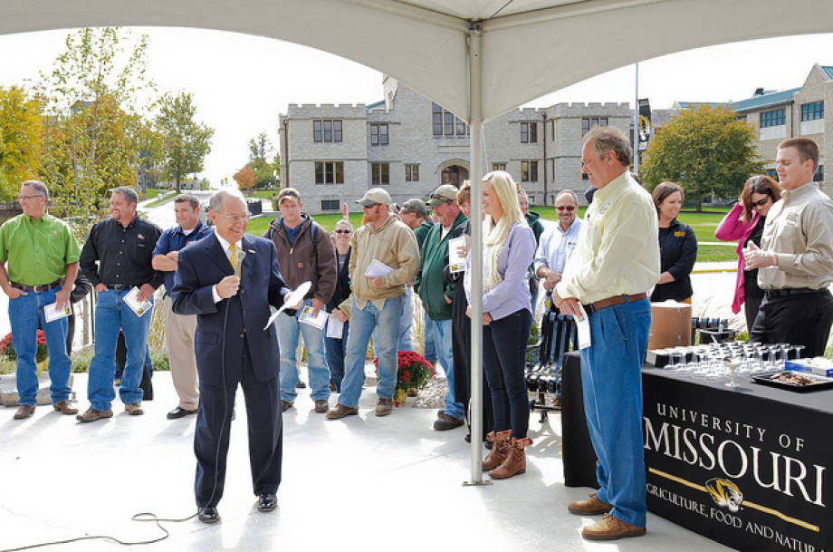 Vice Chancellor and Dean Tom Payne speaks at a ceremony Oct. 12 dedicating the Ag Building's landscape renovation. The event honored those who helped bring the project to reality.