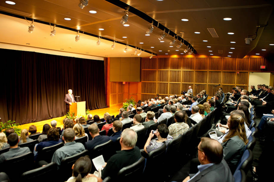 Orion Samuelson, agribusiness director, WGN Radio, gives the inaugural Litton Lecture, Oct. 15 in Monsanto Auditorium. The lecture series remembers Jerry Litton, a CAFNR alumnus who died in an aircraft accident in 1976 after winning a Democratic primary bid for United States Senate.