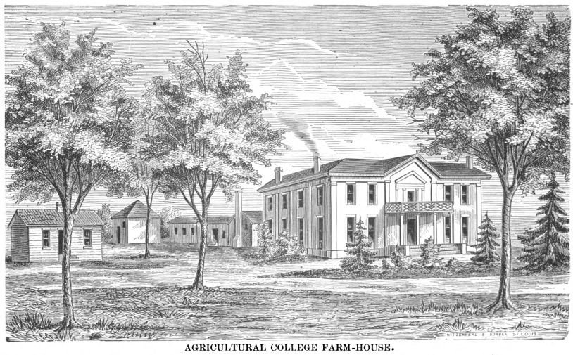 A drawing in the 1883/1884 Annual Catalogue of the Missouri University shows that the 640 acres of land holdings of the College of Agriculture dwarfed the 22-acre University of Missouri campus.  The Boarding Club Houses (#10 on the map) sat where the Agriculture Building now is located. Courtesy University Archives.
