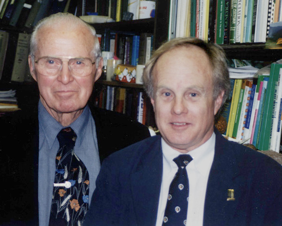 "J. Perry Gustafson (right) and Norman Borlaug.  Borlaug was an American agronomist, humanitarian and Nobel laureate who has been called ""the father of the Green Revolution.  During the mid-20th century, Borlaug led the introduction of high-yielding varieties of grains combined with modern agricultural production techniques to Mexico, Pakistan and India. As a result, Mexico became a net exporter of wheat by 1963. Between 1965 and 1970, wheat yields nearly doubled in Pakistan and India, greatly improving the food security in those nations.   Borlaug is often credited with saving over a billion people worldwide from starvation.  He was awarded the Nobel Peace Prize in 1970 in recognition of his contributions to world peace through increasing food supply."