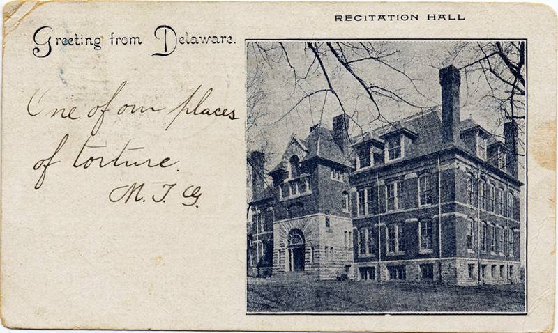 "A postcard from a student in 1871 showing the building at Delaware College where Porter had his office. The message states: ""One of our places of torture."" Courtesy University of Delaware Library."