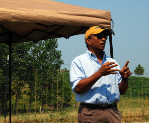 Ranjith Udawatta, research associate professor in Soil, Environmental and Atmospheric Sciences, discusses riparian buffer at CAFNR's Horticulture and Agroforestry Research Center (HARC).