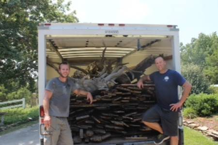 Burditt and Ray with a load of barn wood in Warsaw, Mo.
