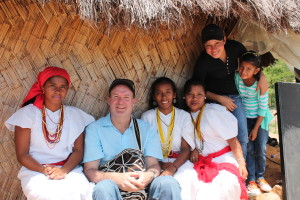 Blumhorst with members of the Arahuaco Indian group in the Sierra Nevada mountains of northern Colombia.