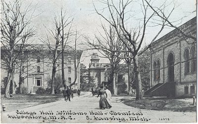 The Michigan Agricultural College's College Hall is where Mumford took and taught classes. When work was undertaken to renovate the building in 1918, two of the exterior walls collapsed. The building was then torn down. Courtesy Michigan State University.