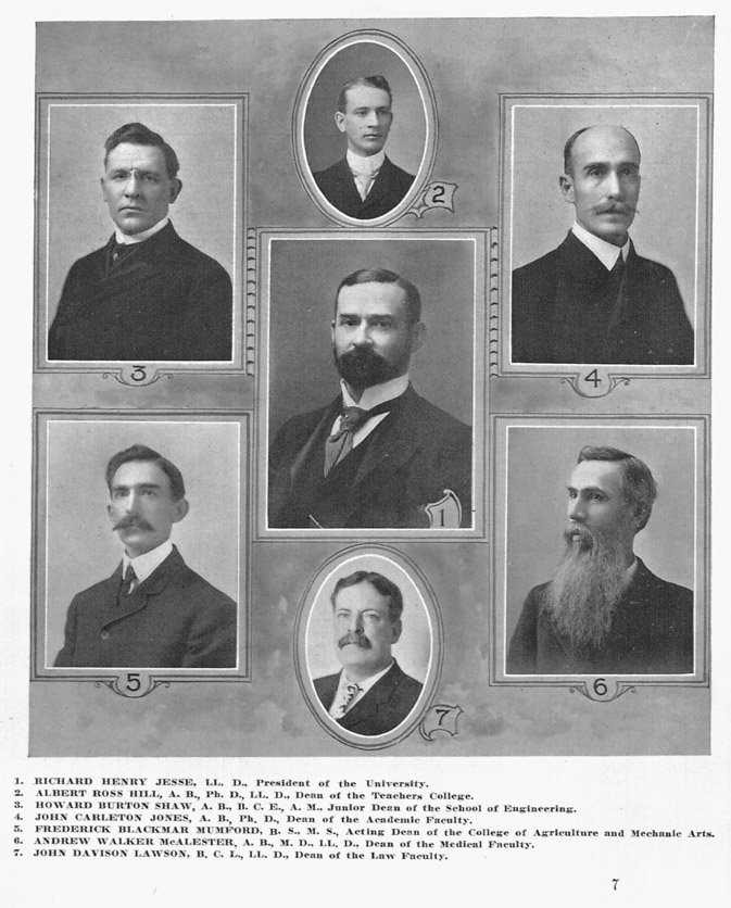 Mumford served as acting Dean in 1907 while Dean Henry Waters traveled in Europe. MU included Mumford's picture instead of Waters in their annual composite of Mizzou Deans. Ag faculty at the time wondered if this slight caused Waters to move to Kansas State University a short time later. Courtesy University Archives.