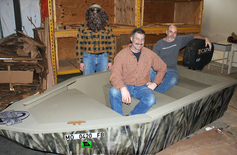 Dusty Walter and Drew Backues are the designers and builders of CAFNR's entry into the Float Your Boat for the Food Bank race.