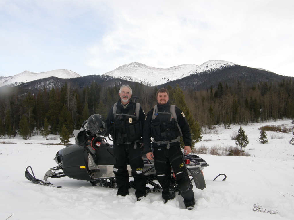 Sam McCloskey and fellow park ranger Kent Minor work in the mountains of Colorado