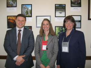 Jenny Upah, center, with Corey Schrodt, Legislative Correspondent for Representative Billy Long and Jan Neitzert, executive director of Missouri Park and Recreation Association.