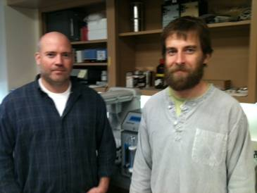 Steve D. Smith, graduate student, and Dr. Romain Bridou, postdoctoral fellow