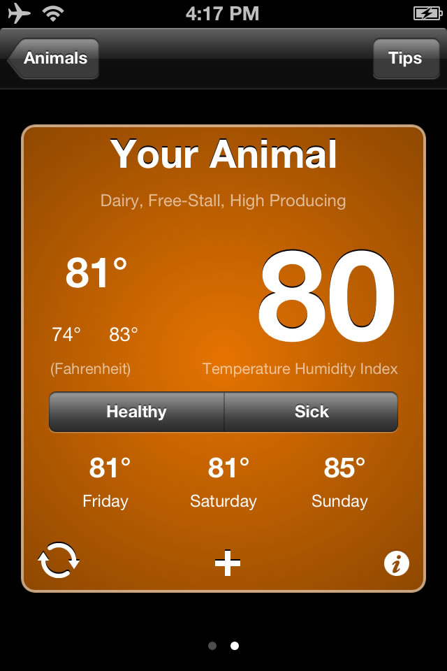 If temperature and humidity conditions exceed a certain limit, the app warns the farmer that a cow is experiencing heat stress.
