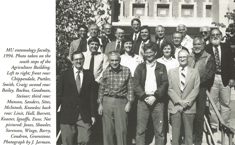 MU's entomology faculty of 1994. Photo taken from book Entomology at the University of Missouri.