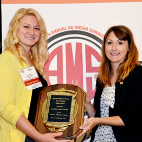 2013 2013 Forrest Bassford Travel Award Winners - Pictured (L to R) are Alltech North American Field PR Manager Ann Kopecky; 2013 Forrest Bassford Student Award Winner Keri Weis, University of Missouri; and travel award winners Reba Underwood, West Texas A & M University; Claire Carlson, Kansas State University; and Logan Britton, Kansas State University.