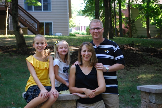Weber and daughters Rachel, left, Sarah, and wife Karen, show off their MU spirit.