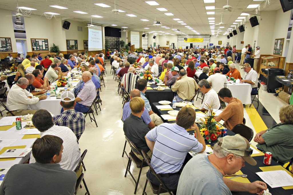 A morning breakfast kicked off the 52nd Annual Fisher Delta Research Center Field Day, held on August 29, 2013 in Portageville.