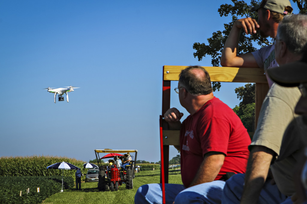 MU Extension Regional Engineer Kent Shannon spoke to the crowd about unmanned aircraft and the future of using this new technology for agriculture. He flew his Phantom Quadcopter to demonstrate the capabilities of the small piece of equipment.