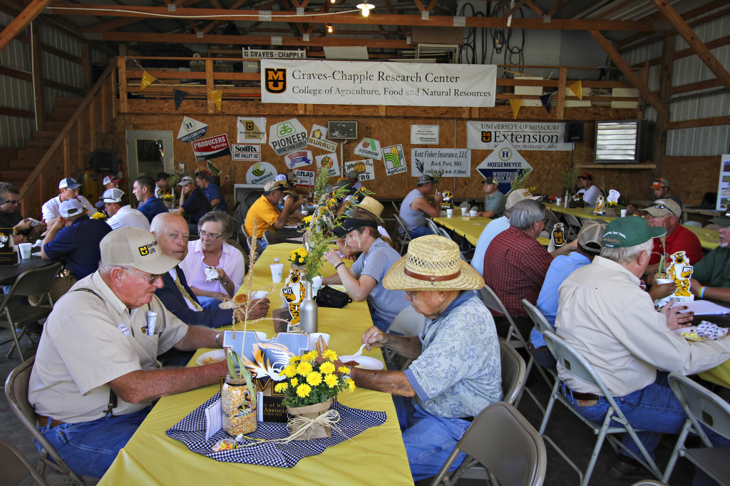 Lunch is served during the 25th Annual Graves-Chapple Field Field Day, held at the research center near Rock Port, Mo. The day kicked off with a breakfast and at 9am three different educational tours began around the center. A lunch ended the day, in which more than 170 people attended.