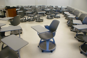 Not a chair warehouse, but a classroom where rolling chairs can instantly be moved to form teams or individual study locations.