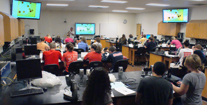 No longer do students need to scurry to see something on one microsccope. That image can now be broadcast on a closed circuit TV system to the entire class.
