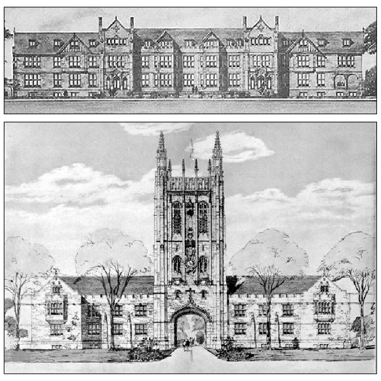 Architectural drawing (top) of the proposed pre-war Missouri Union, about the time when Graham was attending the MU College of Agriculture. (Note the absence of the bell tower and spires.) The $250,000 funding campaign was interrupted by the First World War. After the war, the MU administration redesigned the structure (bottom) to incorporate a bell tower and spires described in Graham's poem. Courtesy University Archives.