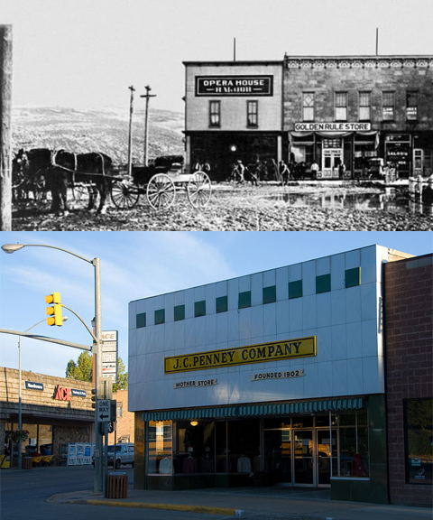 "In 1902, J.C. Penney was one-third owner of a new dry goods store (upper photo) in Kemmerer, Wy., then a boom town tied to coal mining. The store is still in operation today (lower photo) as the J.C. Penney ""Mother Store."" Photos courtesy Kemmerer Chamber of Commerce."