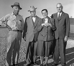 A 1952 MU photo of Arthur Ragsdale, MU dairy professor, J.C. Penney, Penney's wife Caroline, and MU College of Agriculture Dean ......  Courtesy University Archives.
