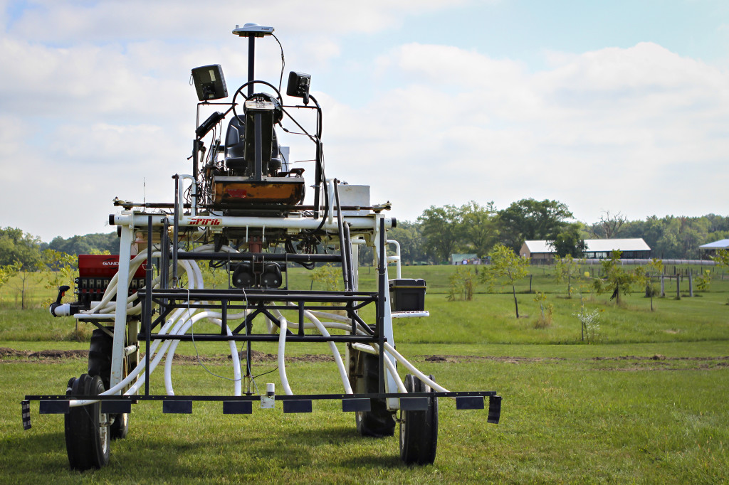 Skylab is a unique tractor that is equipped with several sensors used to monitor forages. The tractor's high clearance allows researchers to collect data from a pasture multiple times and not cause impact to the forages.