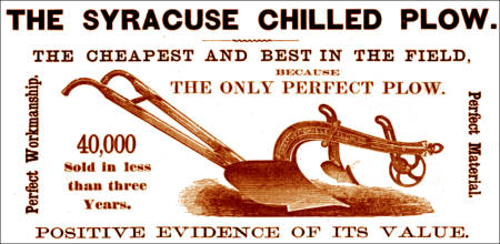Advertising of the period that appeared in major agricultural magazines, such as this ad for the Syracuse Chilled Plow, provided little objective data.  This plow performed poorly in the Missouri tests, despite its advertising claims of perfection.