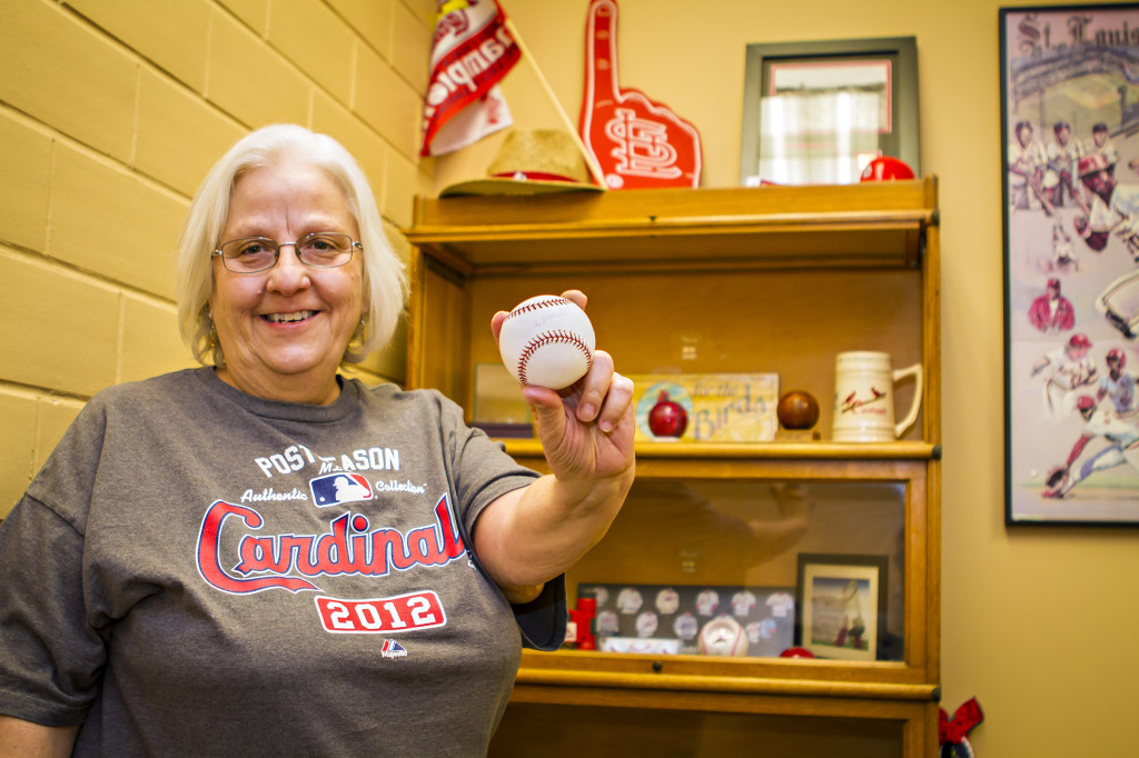 Debbie Lingle, Grants and Contracts Specialist in the Division of Plant Sciences, is a die-hard St. Louis Cardinals fan. Her office is covered with her prized Cards memorabilia.