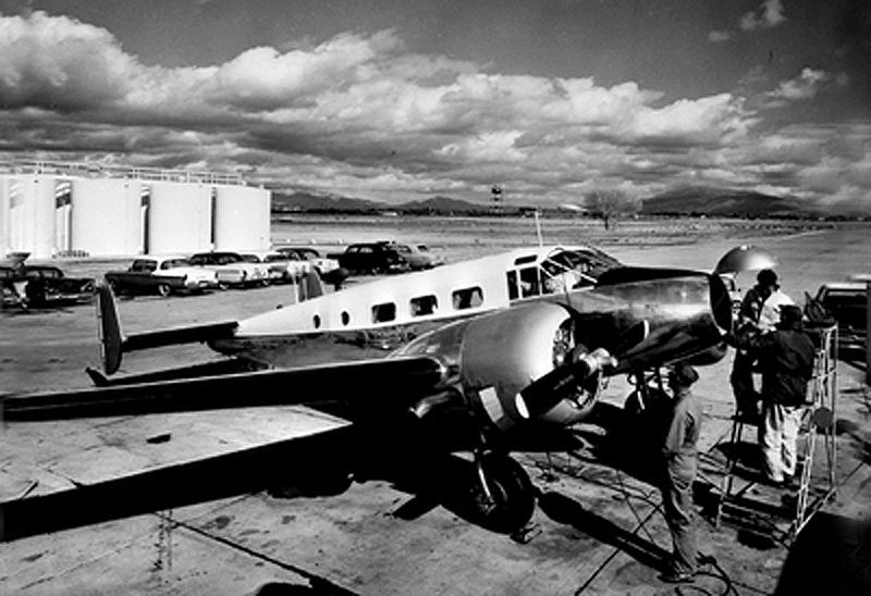 Mizzou's first airplane, AF-371, had a long and varied life. After its military career as a bombardier trainer and transport, MU bought the airplane and spent nearly $20,000 to increase its cabin height, install a civilian interior, and upgrade the engines and radios, among other improvements. The airplane became a freighter after MU sold it.  It still flies to airshows from its base in Texas. Courtesy University Archives.