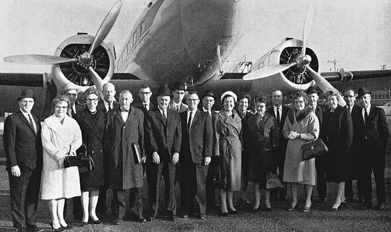 MU's flying agriculture instructors pose before the University's DC-3 before the last plane trip to the Southeast Missouri State campus, where the courses were conducted. Courtesy Missouri Alumnus magazine.