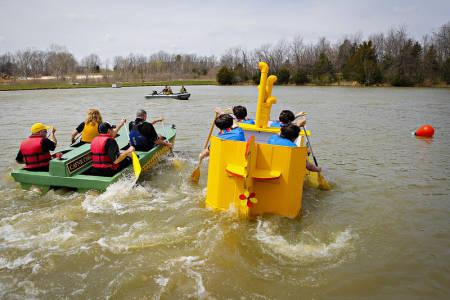 The CAFNR Corn Stalker races the Yellow Submarine.
